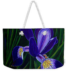 Weekender Tote Bag featuring the painting Purple Iris by Barbara Griffin