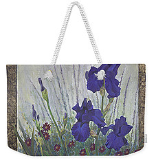Purple Iris Weekender Tote Bag by Rob Corsetti