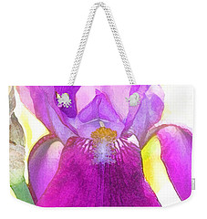Purple Iris Watercolor Weekender Tote Bag