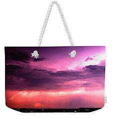 Purple Lightning Panorama Weekender Tote Bag