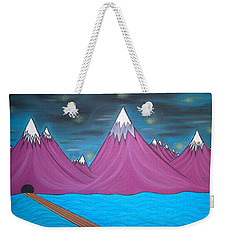 Weekender Tote Bag featuring the pastel Purple Mountains by Robert Nickologianis