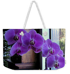 Weekender Tote Bag featuring the photograph Purple Orchid by AJ  Schibig