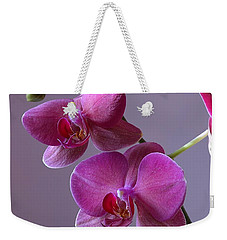 Purple Orchid Weekender Tote Bag by Kathy Eickenberg