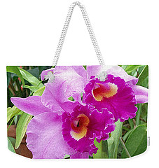 Purple Cattleya Orchids Weekender Tote Bag