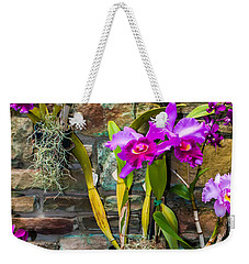 Purple Orchids With Cultured Stone Background Weekender Tote Bag