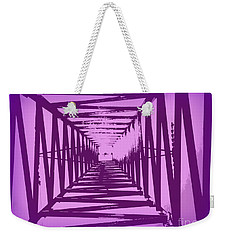 Weekender Tote Bag featuring the photograph Purple Perspective by Clare Bevan