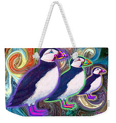 Weekender Tote Bag featuring the mixed media Purple Puffins by Teresa Ascone