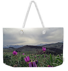Weekender Tote Bag featuring the digital art Purple Spring In The Big Horns by Cathy Anderson