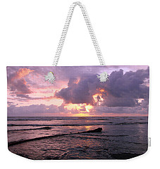 Weekender Tote Bag featuring the photograph Purple Pink Sunset by Athena Mckinzie
