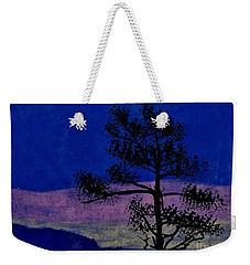 Weekender Tote Bag featuring the drawing Purple Sunset Bay by D Hackett