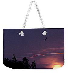 Weekender Tote Bag featuring the photograph Purple Sunset With Sea Gull by Peter v Quenter
