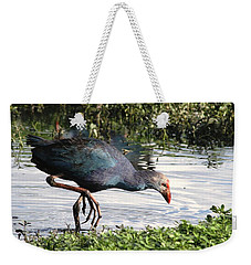 Weekender Tote Bag featuring the photograph Purple Swamphen by Ramabhadran Thirupattur
