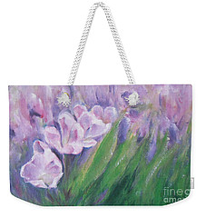 Weekender Tote Bag featuring the painting Purple Tulips  by Jane  See