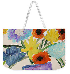 Weekender Tote Bag featuring the painting Purple Vase Filled by Mary Carol Williams