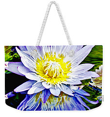 Purple Petals Water Lily In Reflective Pond Weekender Tote Bag by Carol F Austin