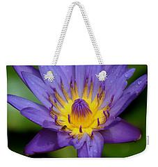 Purple Water Lily Weekender Tote Bag by Pamela Walton