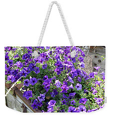 Purple Wave Petunias In Rusty Horse Drawn Spreader Weekender Tote Bag