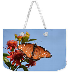 Weekender Tote Bag featuring the photograph Queen Butterfly by Debra Martz