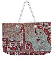 Queen Elizabeth II Big Ben Stamp Weekender Tote Bag