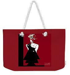 Weekender Tote Bag featuring the digital art Queen Of Hearts by Ann Calvo