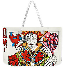 Weekender Tote Bag featuring the drawing Queen Of Hearts - Wip by Jani Freimann