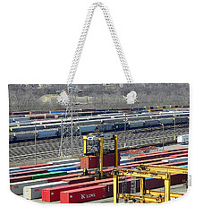 Weekender Tote Bag featuring the photograph Queensgate Yard Cincinnati Ohio by Kathy Barney