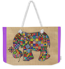 Quilted Elephant Weekender Tote Bag