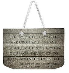 Quote Of Eisenhower In Normandy American Cemetery And Memorial Weekender Tote Bag