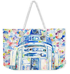 R2-d2 Watercolor Portrait.1 Weekender Tote Bag by Fabrizio Cassetta