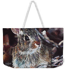 Weekender Tote Bag featuring the painting Rabbit In The Woods by Joshua Martin