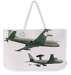 Weekender Tote Bag featuring the photograph Raf Nimrod And Awac Aircraft by Paul Fearn