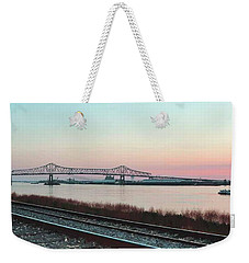 Weekender Tote Bag featuring the photograph Rail Along Mississippi River by Charlotte Schafer