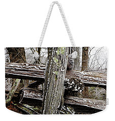Rail Fence With Ice Weekender Tote Bag by Daniel Reed