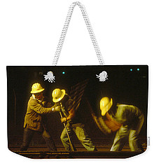 Weekender Tote Bag featuring the photograph Railroad Workers by Mark Greenberg