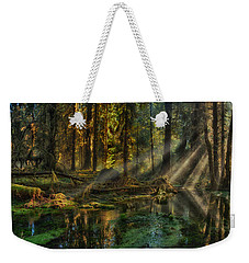 Rain Forest Sunbeams Weekender Tote Bag by Mary Jo Allen