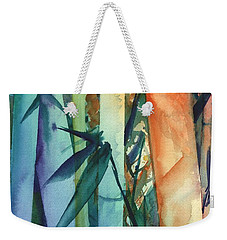 Weekender Tote Bag featuring the painting Rainbow Bamboo 2 by Marionette Taboniar