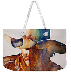 Weekender Tote Bag featuring the painting Rainbow Cowboy by Jani Freimann