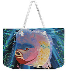 Weekender Tote Bag featuring the painting Rainbow Devil Fish by Dianna Lewis