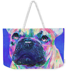 Rainbow French Bulldog Weekender Tote Bag by Jane Schnetlage