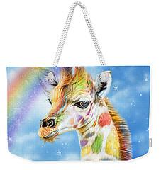 Weekender Tote Bag featuring the mixed media Rainbow Giraffe by Carol Cavalaris