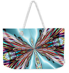 Rainbow Glass Butterfly On Blue Satin Weekender Tote Bag