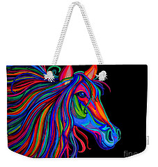 Rainbow Horse Head Weekender Tote Bag