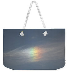 Weekender Tote Bag featuring the photograph Rainbow In The Clouds by Eti Reid