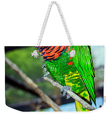 Weekender Tote Bag featuring the photograph Rainbow Lory by Sennie Pierson