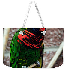 Weekender Tote Bag featuring the photograph Rainbow Lory Too by Sennie Pierson