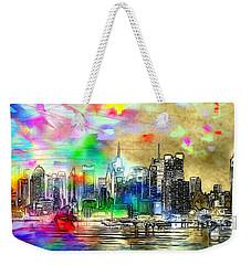 Rainbow Nyc Skyline Weekender Tote Bag