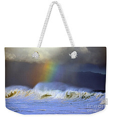Rainbow On The Banzai Pipeline At The North Shore Of Oahu Weekender Tote Bag by Aloha Art