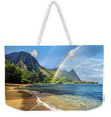 Rainbow Over Haena Beach Weekender Tote Bag
