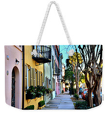 Weekender Tote Bag featuring the photograph Rainbow Row Hdr by Lisa Wooten