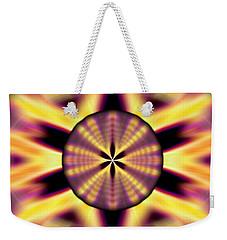 Weekender Tote Bag featuring the drawing Rainbow Seed Of Life by Derek Gedney
